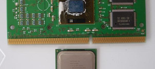 Pentium 3 without holder and Pentium 4 chip